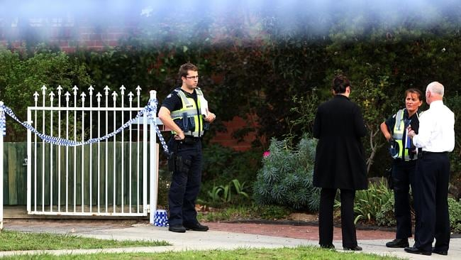 Police outside the Watsonia home where two children were found dead. Picture: Sarah Matray