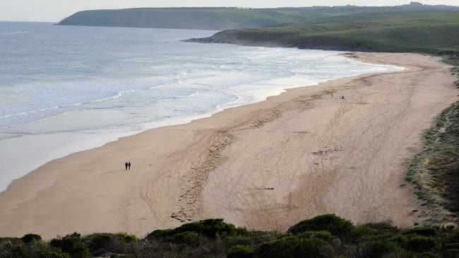 Parsons Beach, where a man was bitten by a shark. Picture: Greg Higgs
