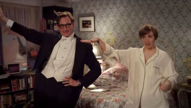 Strike a pose...Lena Dunham gets tips on how to pose for her Vogue cover shoot by international editor-at-large Hamish Bowles in a new video short on Vogue.com. Picture: Supplied