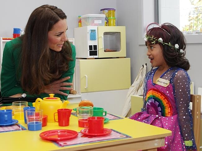 Having fun ... Catherine, Duchess of Cambridge talks to Bailey Taylor at the Waikato Hospice Rainbow Place. Picture: Peter Drury-Pool/Getty Images