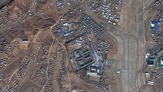 "The concentration camp North Korea says doesn't exist: Satellite imagery of Sinuiju or ""Camp 3"", a ""re-education camp"". Picture: DigitalGlobe via Getty"
