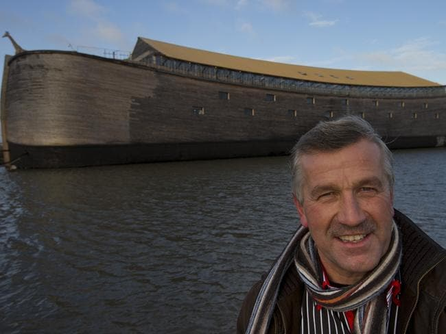 Johan Huibers with the full-scale replica in Dordrecht, Netherlands, in 2012. Picture: AP Photo/Peter Dejong
