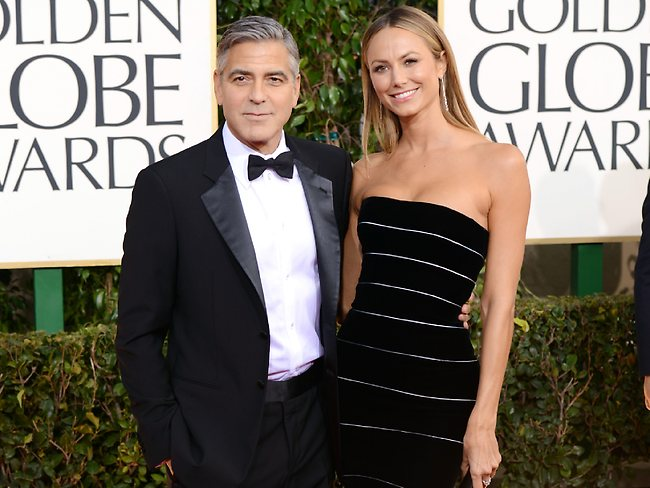 George Clooney and Stacy Keibler. Picture: Getty Images