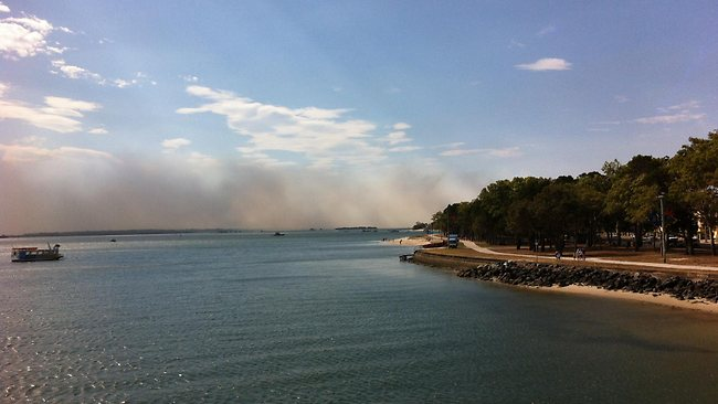 The fire on Bribie Island fire.