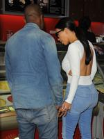 Kim Kardashian and Kanye West head out for ice cream at Haagen-Dazs in Paris this evening ahead of their wedding. Picture: Splash