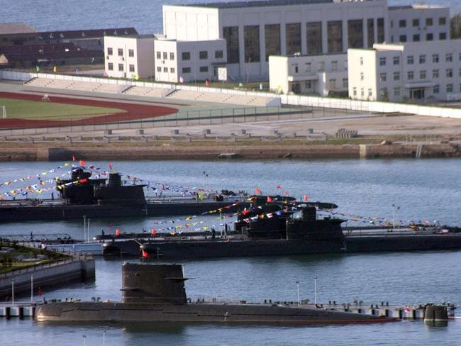 A fleet of China's naval submarines.