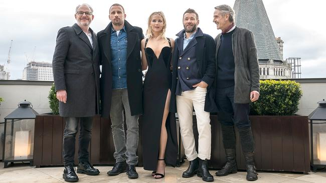 Francis Lawrence, Matthias Schoenaerts, Jennifer Lawrence, Joel Edgerton and Jeremy Irons during the Red Sparrow photo call.