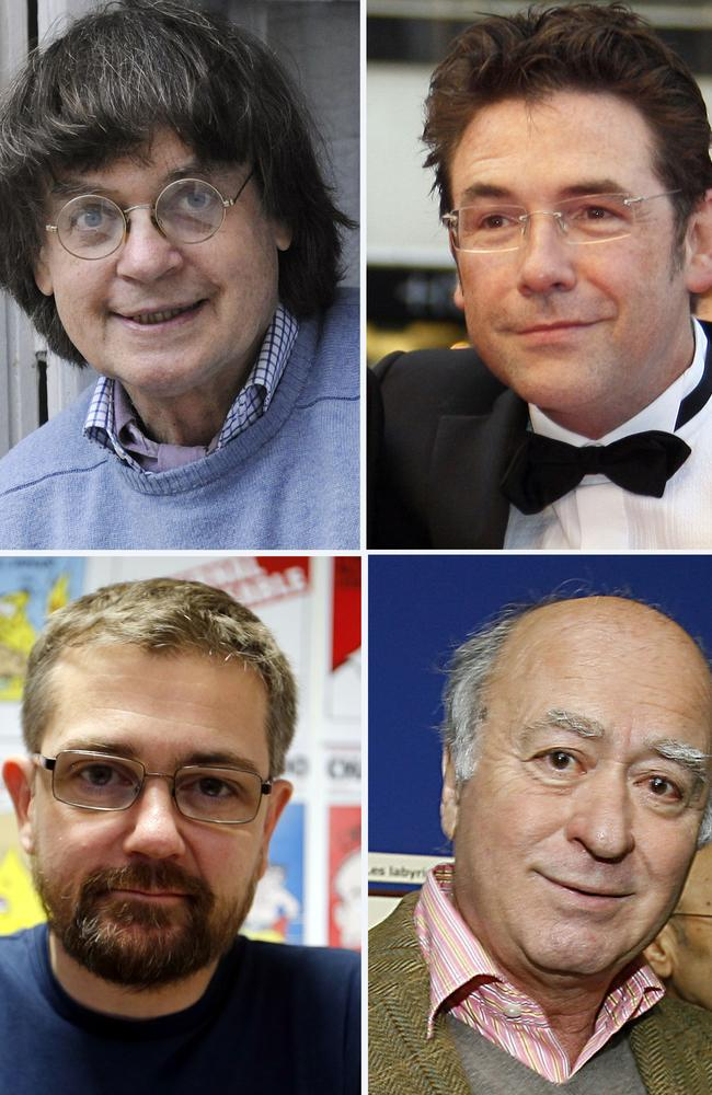 Victims ... Charlie Hebdo staff killed in the attack include (clockwise from top left) cartoonist Jean Cabut, aka Cabu, cartoonist Tignous, Georges Wolinski and publisher Charb. Picture: AFP