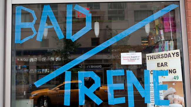 """Bad Irene"" is written in tap in a window of Serenity Spa in New York City. Picture: Andrew Burton / Getty Images"