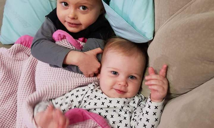 Gabby with her little sister Adalynn, who is also showing signs of similar allergies. Image: Supplied