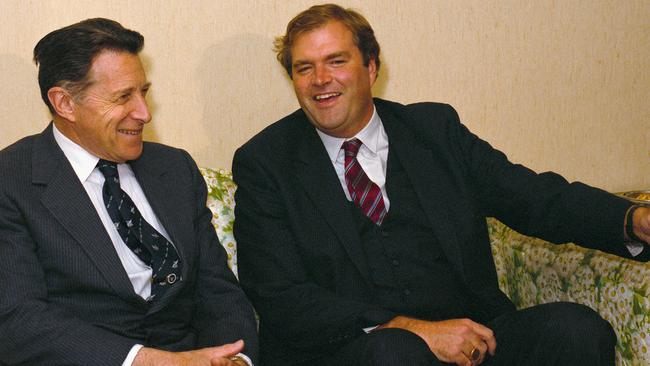 In foreign circles ... former defence minister Kim Beazley and former US Secretary of Defence Caspar Weinberger in 1986.