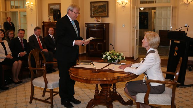 The Governor-General, Quentin Bryce swearing in Kevin Rudd as Prime Minister at Government House in Canberra.. Picture: Kym Smith