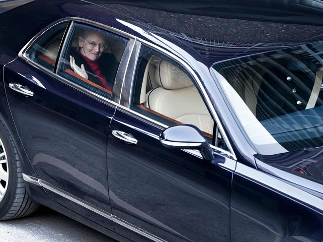 Queen Margrethe of Denmark leaves the Rigshospitalet, the country's largest hospital, after visiting her husband Prince Henrik on February 10. Picture: AFP