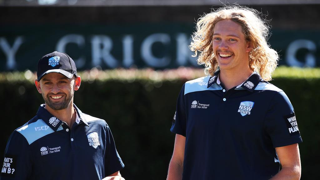 Nathan Lyon with Mickey Edwards who was the cult hero from the Sydney Test last summer when he came on as a substitute fielder is now in the NSW Squad for upcoming JLT Series. Picture: Phil Hillyard