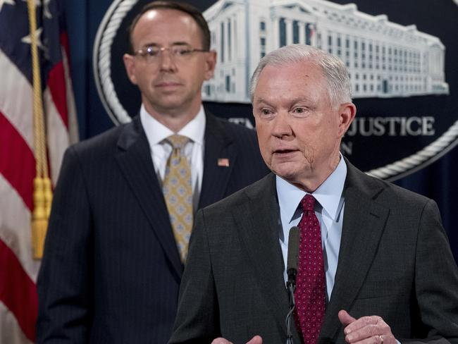 Attorney-General Jeff Sessions accompanied by Deputy Attorney-General Rod Rosenstein, left. Picture: AP
