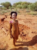 Skyelah Petty keeps her cool during the heat wave in Roxby Downs. Picture: Supplied