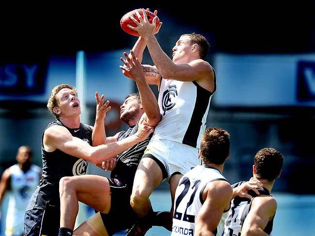 Carlton intra club practice game,Mitch Robinson marks,3rd term, Picture: Wayne Ludbey