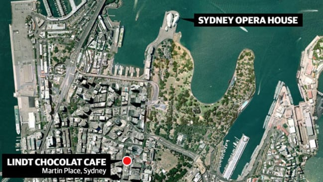 A map of Sydney shows where the Martin Place Lindt Chocolate cafe is located.