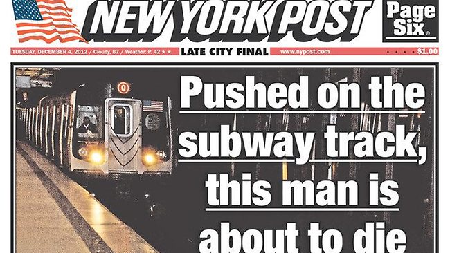 The Tuesday, December 4 cover of the New York Post showing a man about to be hit by an oncoming subway train.