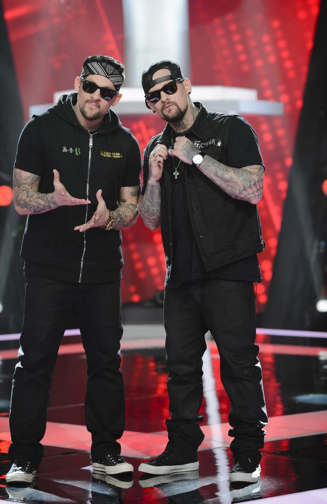 Seeing double ... Benji and Joel Madden will also be coaching the kids. Picture: Nine Network