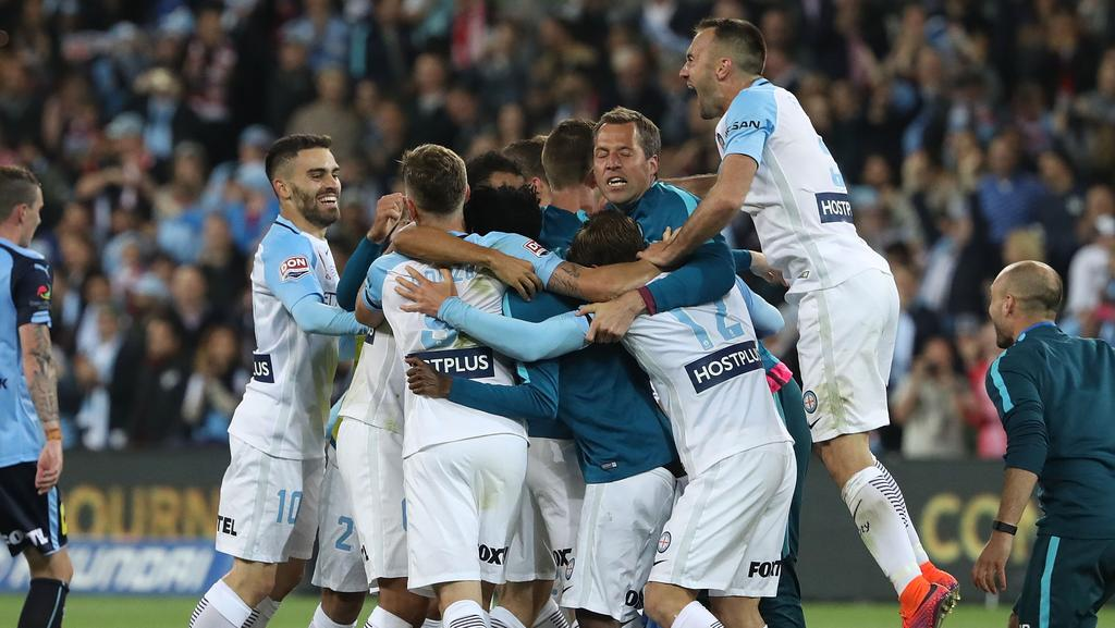 Melbourne City celebrate after they defeated Sydney FC.
