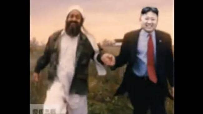 Funny or poor taste ... Kim Jong-un depicted next to the late Osama bin Laden.