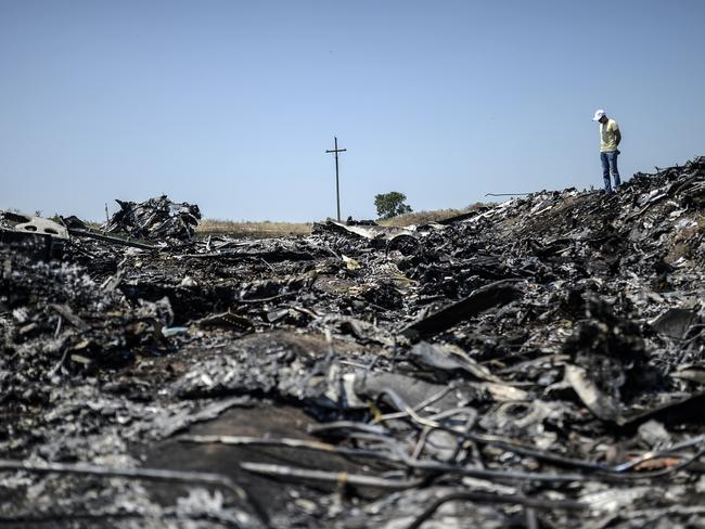 Rubble ... a man standing at the crash site of the Malaysia Airlines Flight MH17. Picture: AFP