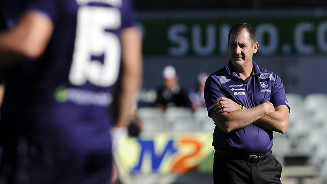 23/03/2013 SPORT: 23/03/2013 SPORT: AFL- Fremantle Dockers v West Coast Eagles, Patersons Stadium, Perth. PICTURED- Fremantle Dockers Ross Lyon coach watches his players warm up.