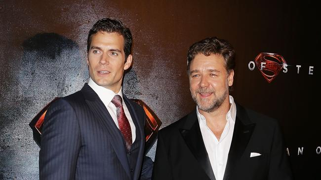 """Henry Cavill and Russell Crowe arrives at the """"Man Of Steel"""" Australian premiere on June 24, 2013 in Sydney, Australia. Picture: Getty Images"""