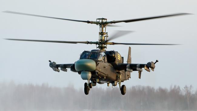 "Over-the-horizon ... One of Russia's new KA52 ""Alligator"" attack helicopters. A new, ""stealth"" helicopter is in the works. Source: Supplied"