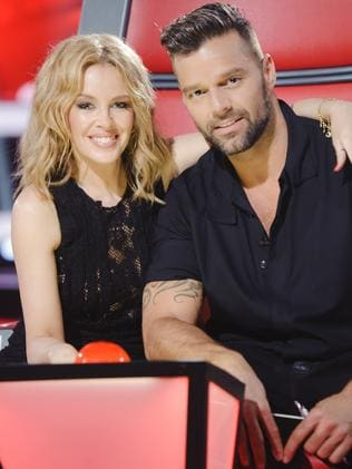 Former The Voice Australia coaches Kylie Minogue and Ricky Martin. Picture: supplied/Nine.