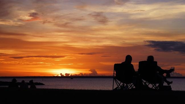 Darwin residents settle in for a sunset at Cullen Bay: a priceless Territory pastime.