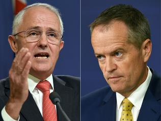 (COMBO) This combination of pictures created on May 8, 2016 shows Australian Prime Minister Malcolm Turnbull (L) speaking at a press conference in Sydney on May 6, 2016, where he announced Singapore will invest up to 1.67 billion USD in Australia's defence infrastructure and hike the number of its troops training here as the nations deepen trade and defence ties, and Australia's opposition Labor Party leader Bill Shorten (R) speaking to the media in Sydney after Australia's Prime Minister threatened on March 21, 2016, to hold early general elections in July unless the upper house agrees to pass deadlocked legislation to overhaul unions. Turnbull on May 8, 2016 called an election for both houses of parliament on July 2 as he seeks his own mandate with the public just eight months after deposing predecessor Tony Abbott in a party coup. / AFP PHOTO / William WEST AND William WEST