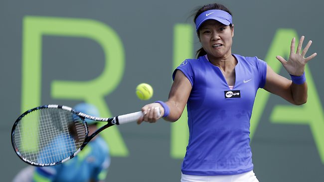 Li Na returns to Varvara Lepchenko during the Sony Open in Key Biscayne. Picture: Lynne Sladky