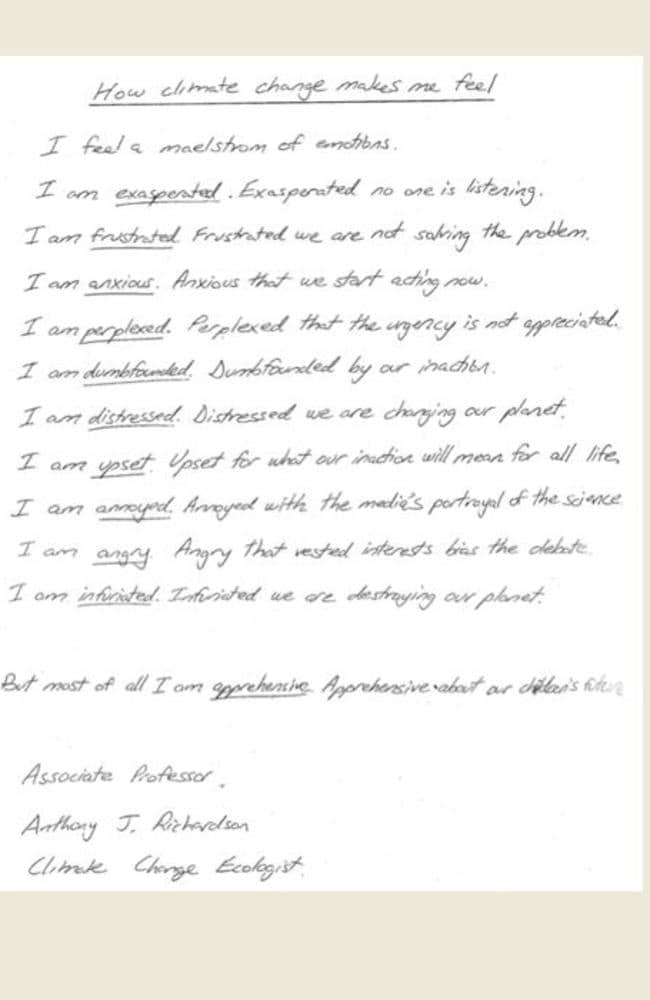 A letter from Associate Professor Anthony J Richardson. Source: isthishowyoufeel.weebly.com