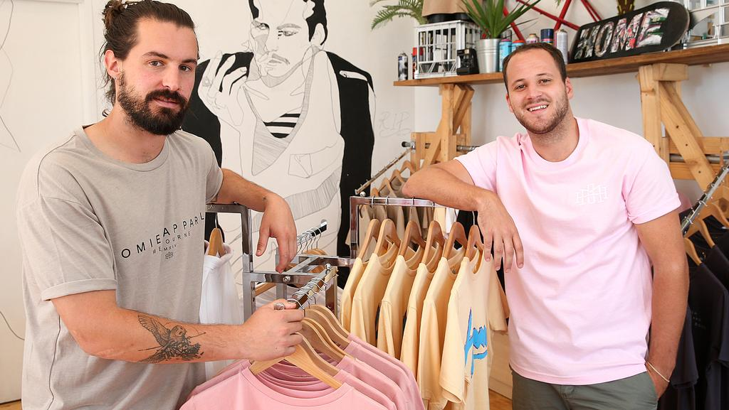 Nick Pearce and Marcus Crook at their HoMie clothing store in Fitzroy. Picture: Ian Currie