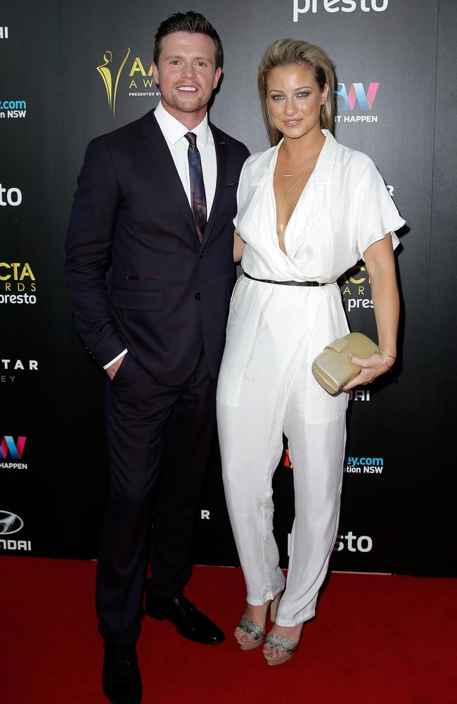 Hugo Johnstone-Burt and partner arrive ahead of the 5th AACTA Awards Presented by Presto at The Star on December 9, 2015 in Sydney, Australia. Picture: Getty