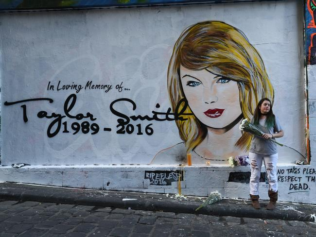 The Swift mural was named Taylor Smith in order to avoid legal action from the notoriously litigious star. Picture: Robert Cianflone/Getty Images.