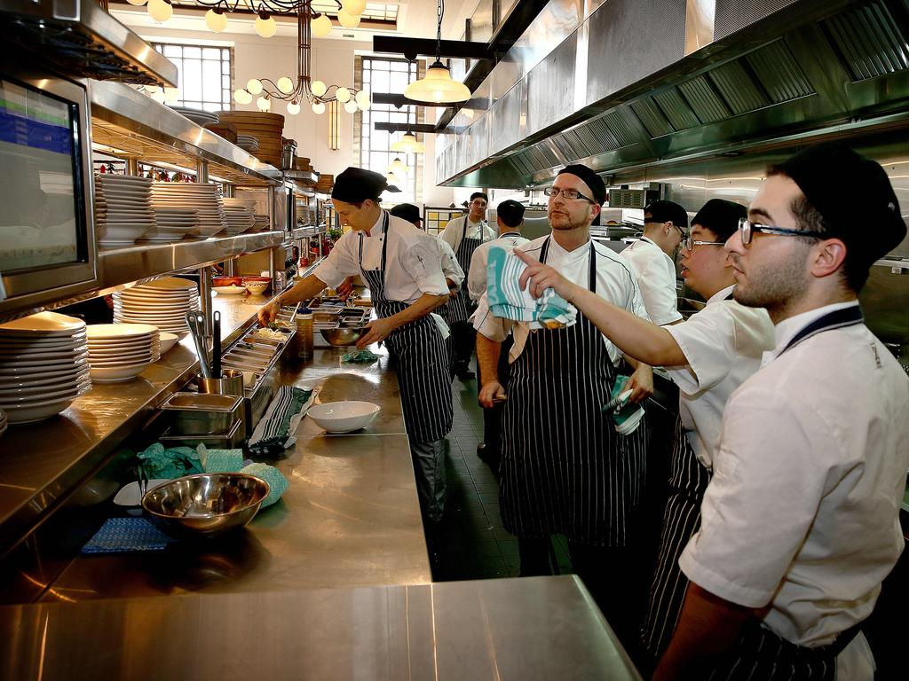 Busy kitchen staff behind the scenes. Picture: Mike Burton