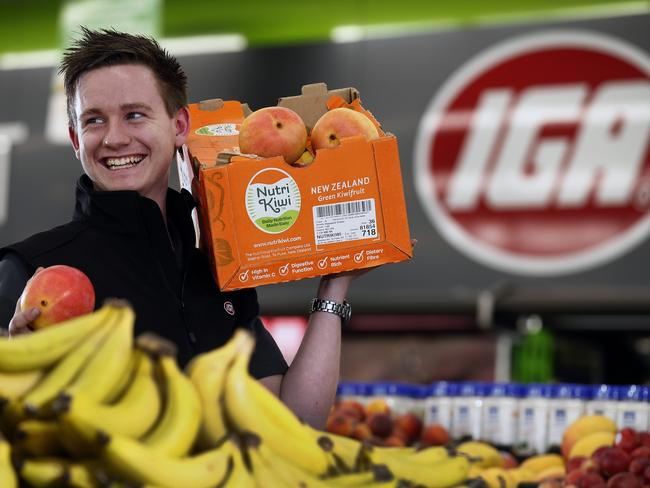 03/11/15 - Josiah Clayton,19, dropped out of school after Year 10 and worked at Mount Barker IGA stacking shelves. His bosses realised he was trustworthy so gave him additional responsibilities and eventually encouraged him to undertake a traineeship. Four years later, he manages the fruit and veg section, and is now assistant store manager. He has dreams of becoming store manager, before eventually owning his own store. He says learning on the job has allowed him to progress at a much faster rate than if he had stayed in school and obtained retail qualifications before starting work. Picture Dean Martin