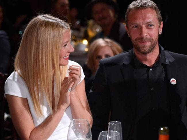 """Better days.... Gwyneth Paltrow and Chris Martin announced their """"conscious uncoupling"""" in March. Picture: Getty"""