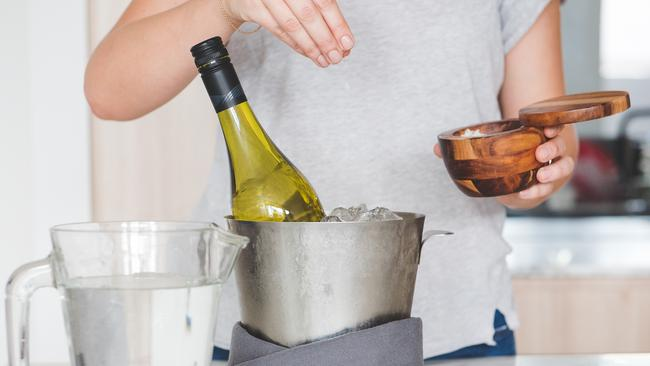 Chill wine quickly by adding salt to the ice bucket