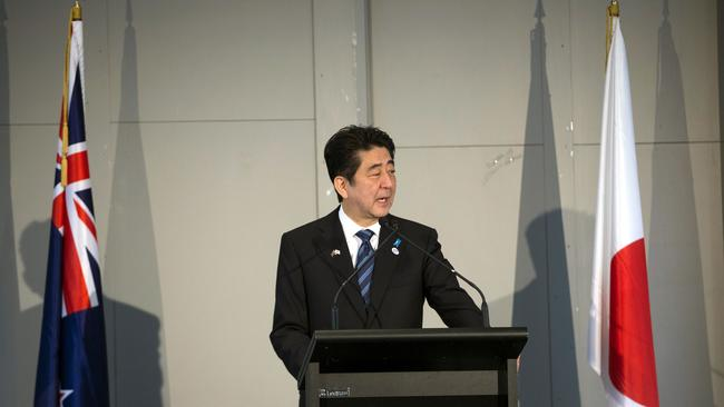 Ready to talk ... Japan's Prime Minister Shinzo Abe speaks at a luncheon in Auckland ahead of his Canberra visit.