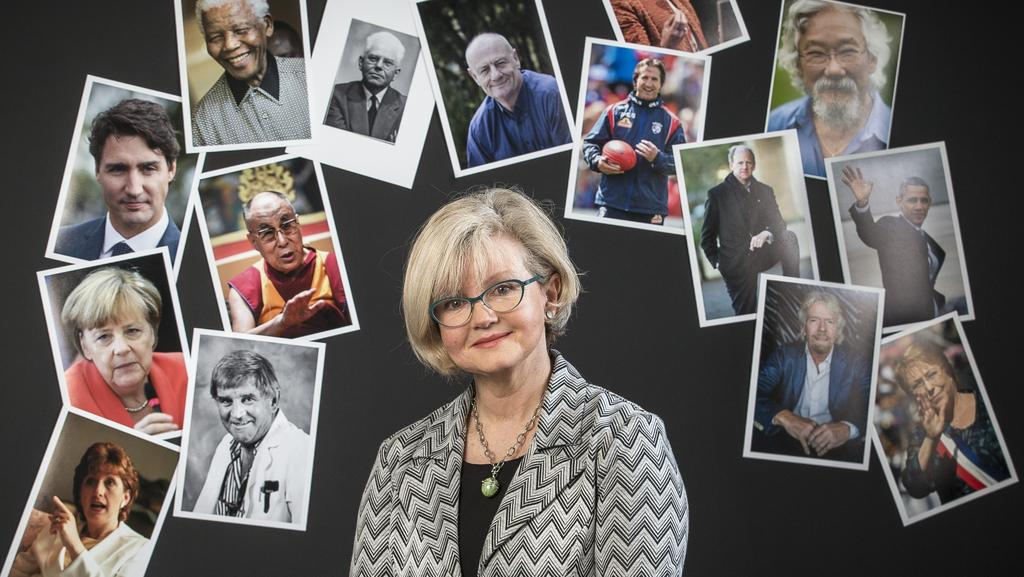 University of Adelaide Neural and Systems complexity specialist Dr Fiona Kerr surrounded by the faces of good examples of leaders. Picture: MIKE BURTON