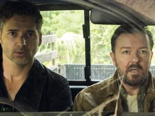 Ricky Gervais and Eric Bana in a scene from the Netflix special movie Special Correspondents.