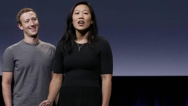 Facebook Chief Executive Mark Zuckerberg and Priscilla Chan will give most of their fortune away. Picture: Jeff Chiu/Associated Press