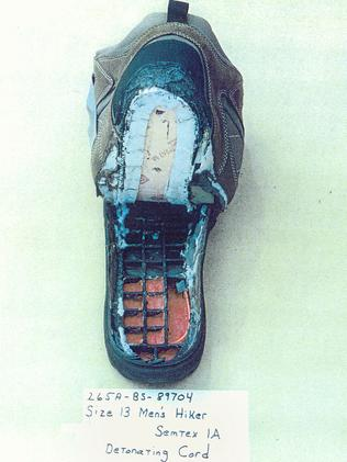 Foot weapon ... the shoe containing a bomb that was worn by suspected terrorist Richard C Reed aboard American Airlines Flight 63.