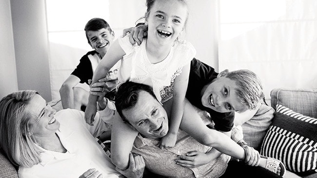 WA's Labor leader Mark McGowan with his wife, Sarah, and their three children, Samuel, rear, Amelia and Alexander, right. Picture: Richard Hatherly