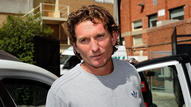 The strain shows on James Hird emerges from a meeting at Windy Hill. Picture: Mike Keating