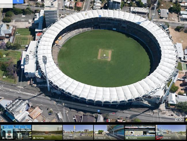 Sacred ground for sports fans ... the Google Maps 3D flyover gives a bird's-eye view on The Gabba.